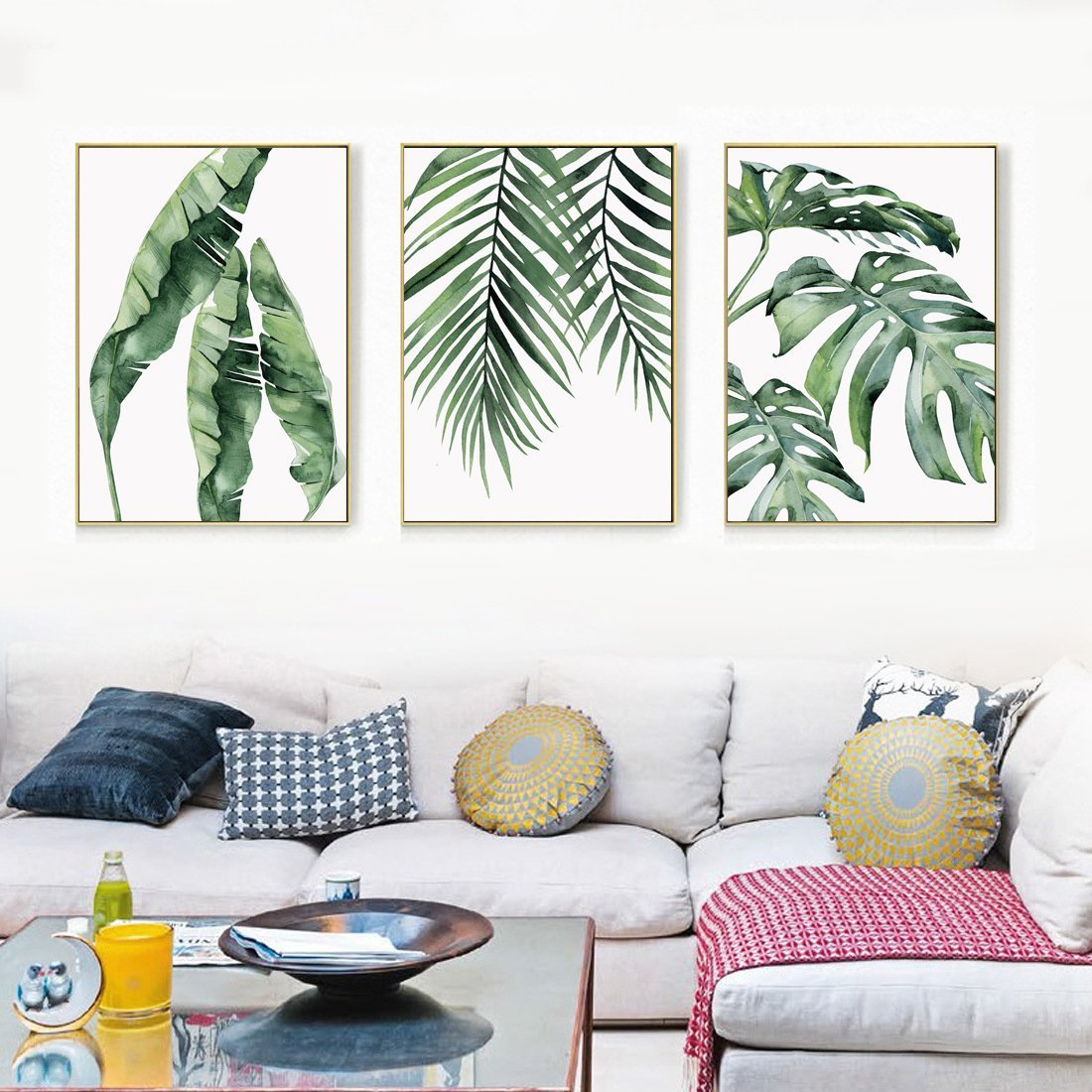 Latest Trend Paintings For Living Room Trend Watercolor Banana, Palm u0026 Monstera Leaf Canvas Print, Wall Art,  Poster, Airbnb Home Decor. Sofa - Cafe - Office - Hotel Painting,  Housewarming Gift.