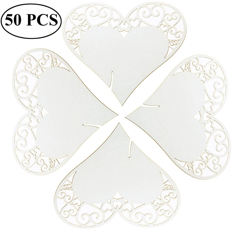 Ouinne 50 Stück Tischkarten Herz Platzkarte Namensschild, Weiß Herz ans Glas Schimmer Perle Weiss Platzkarten Namenskarten für Hochzeiten Feste oder Partys