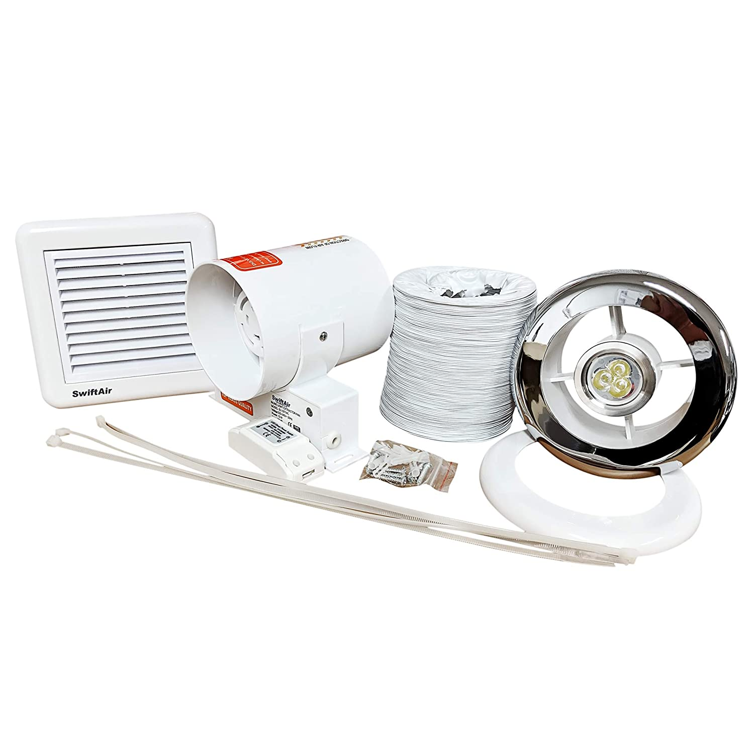 SL100TWC 3w LED (improved) Inline Shower Bathroom Light Extractor Fan Complete Kit with LED light 100m3/h Swiftair
