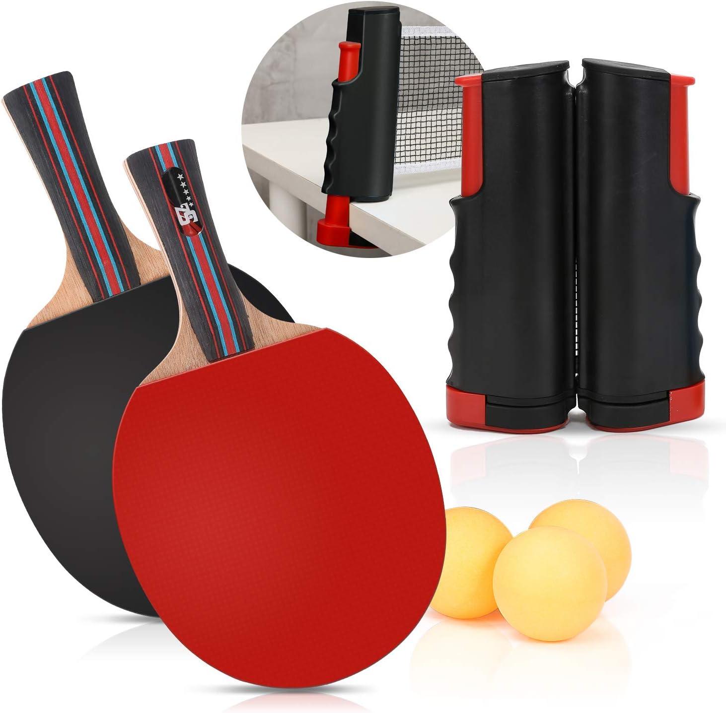 Dlicsy - Juego de 7 palas de ping pong portátil, incluye una red retráctil, 2 raquetas, 3 pelotas y funda para niños y adultos juegos de interior y exterior