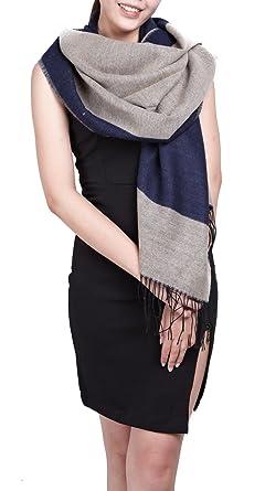 20e52545f5d écharpe hiver femme foulard grande taille châle cache-col réversible franges  beige gris