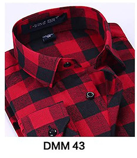 KEBINAI 2018 Winter Flannel Casual Shirt Men Shirts Long Sleeve Chemise,Blood 43,S