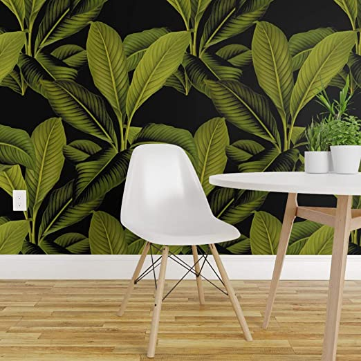 Spoonflower Peel And Stick Removable Wallpaper Palm Leaf Tropical