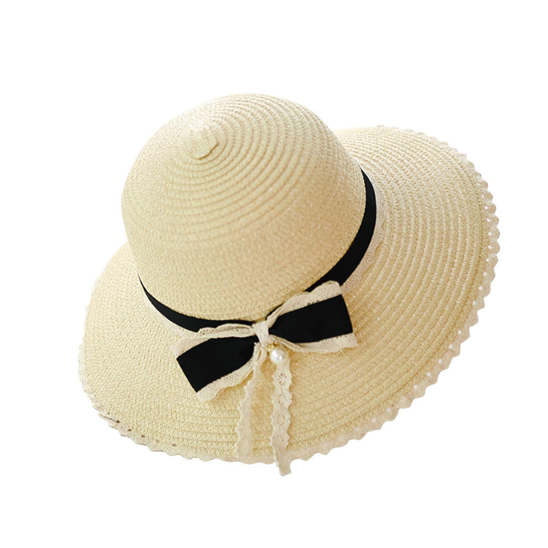Ehpow Femme Chapeau de Soleil Beach Chapeaux Grand Bowknot Bord Large Paille Chapeau