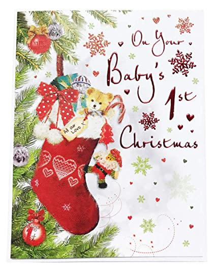 Del bebé primer 1st Navidad Tarjeta de felicitación de ...