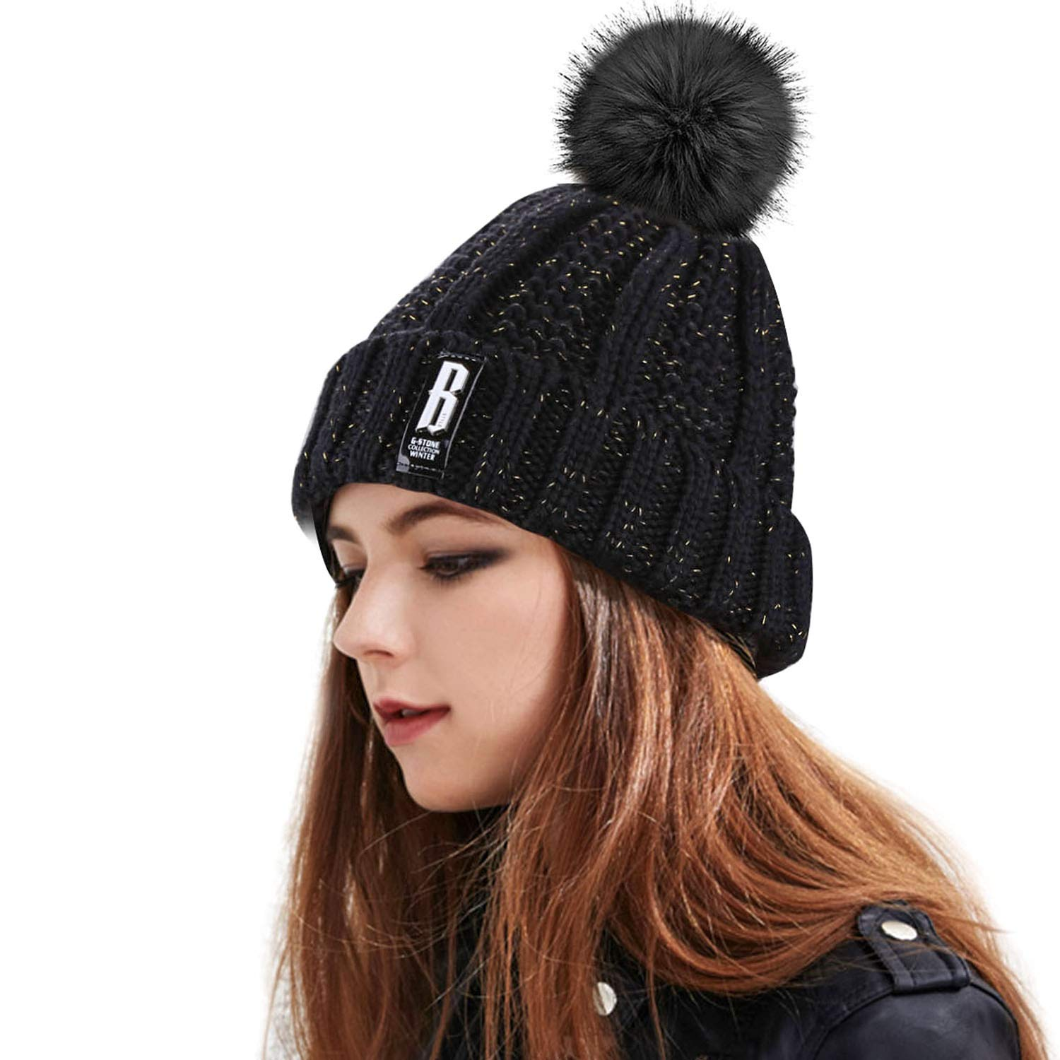 Women\'s Winter Warm Pom Pom Beanie Hat,Proking Warm Hand Knit Fleece Lined Beanie Hats for Women,Thick Slouchy Knie Snow Skull Ski Caps for Ladies(Black)