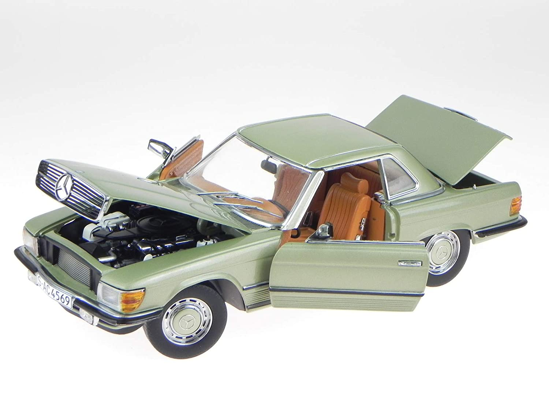 Sunstar Mercedes R107 350 SL HT 1977 Silber grün Modellauto 4569 1:18