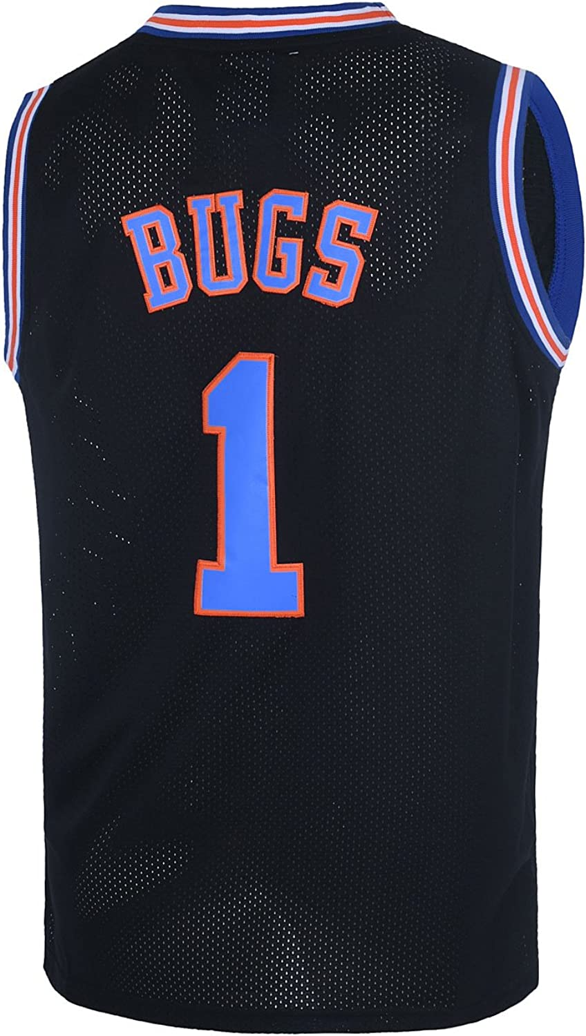 TUEIKGU Bugs 1 Space Men's Movie Jersey Basketball Jersey S-XXL White/Black/Blue