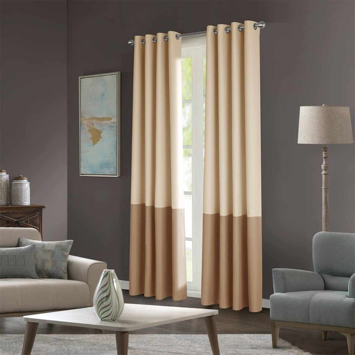 Dreaming Casa Color Block Two Tones Room Darkening Curtains 63 inches Long for Bedroom Window Treatment Grommet Top Drapes 2 Panels Beige Khaki 100 W X 63 L