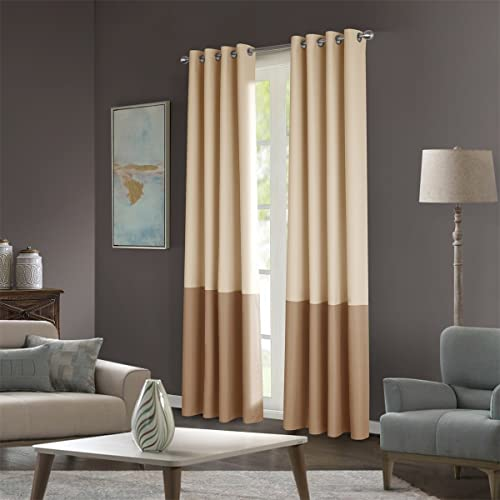 Dreaming Casa Color Block Two Tones Room Darkening Curtains 84 inches Long