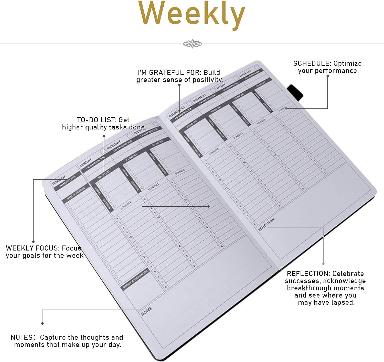 Negro Calendario Semanal A5 A5 Agenda Daily 256 P/áginas Sin L/ímite de Fecha JOLIGAEA Agenda con Vista Semana planificador Diario con Cubierta de Piel