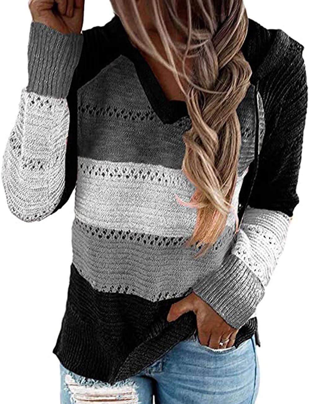 Eoeth Womens Hollow Out Long Sleeve Splice Blouse Fashion Ladies Comfortable Slim Fit T-Shirt Tops Shirts Pullover