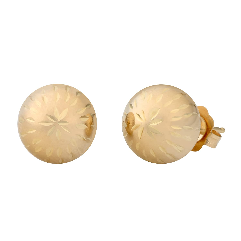 Amazon 14k Yellow Gold 8mm Diamond Cut Ball Earrings Diamond