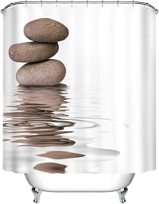 Amazon Com Lb Zen Stones Rocks Water Ripples Shower Curtain Set