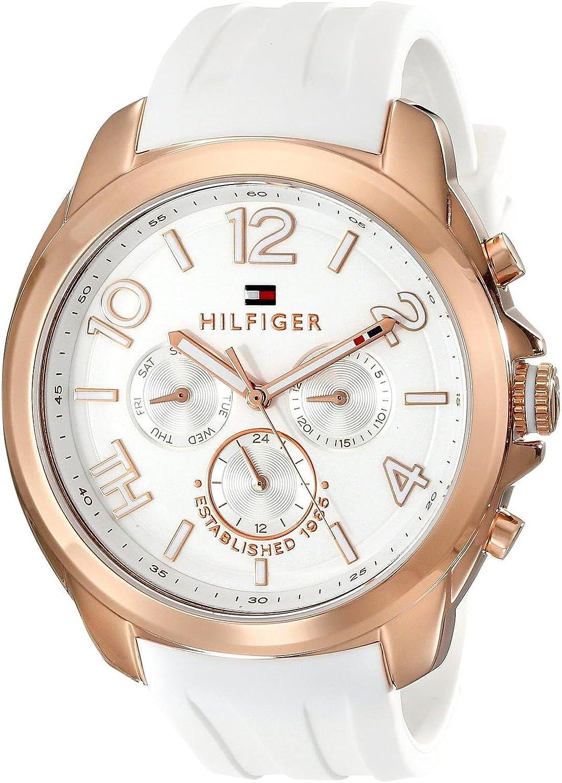 Tommy Hilfiger Serena - Reloj de Cuarzo para Mujer, con Correa de plástico, Color Blanco