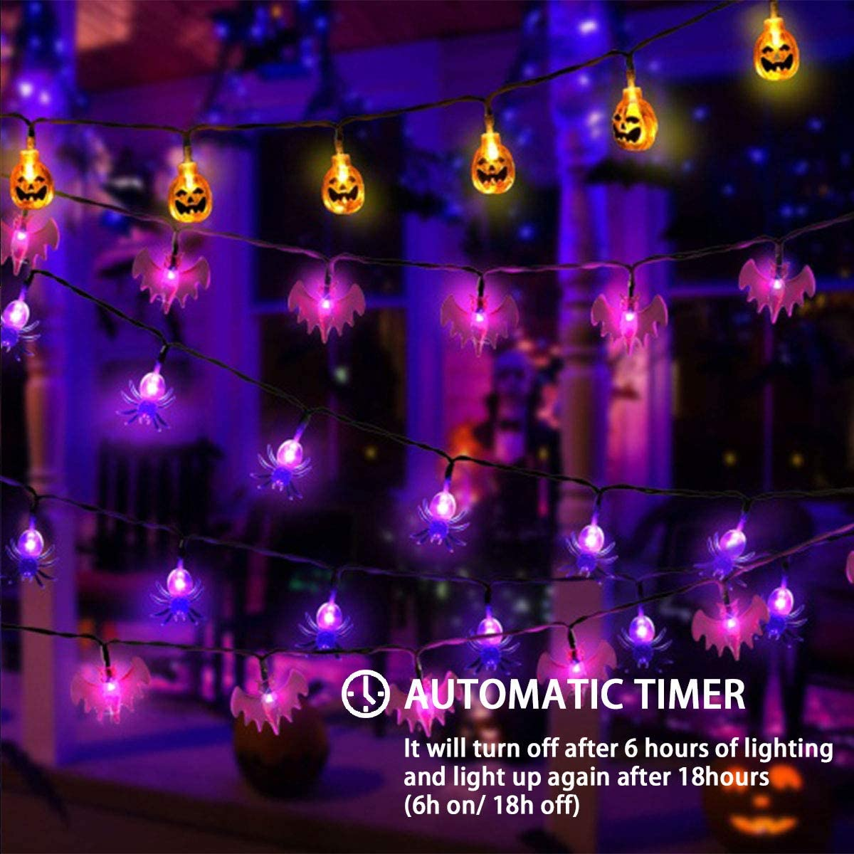 MAOYUE Halloween Lights Outdoor Halloween String Lights 3Pack 29.6ft 60 LED Pumpkin Spider Bat String Lights Battery Operated 8 Lighting Modes for Halloween Decorations Outdoor, Indoor, Porch
