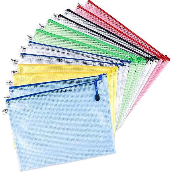 5 Color Rocita 12Pcs Zipper File Bags A4 Size Mesh Document Bags Office School Storage Pouches for Document Business Receipts Organization