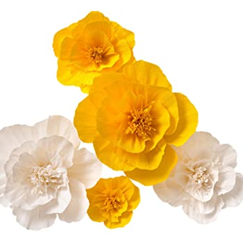 Amazon paper flower decorations large crepe paper flowers paper flower decorations large paper flowers yellow white set of 5 handcrafted flowers crepe paper flowers for wedding backdrop nursery wall mightylinksfo