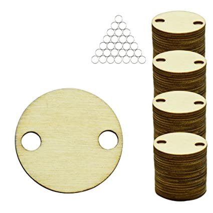 YuQi 50PCS Wooden Round Shape Discs with Large Predrilled Holes,Natural  Unfinished Blank Wood Slice Circle for DIY Crafts Ornaments & Weddings  Party