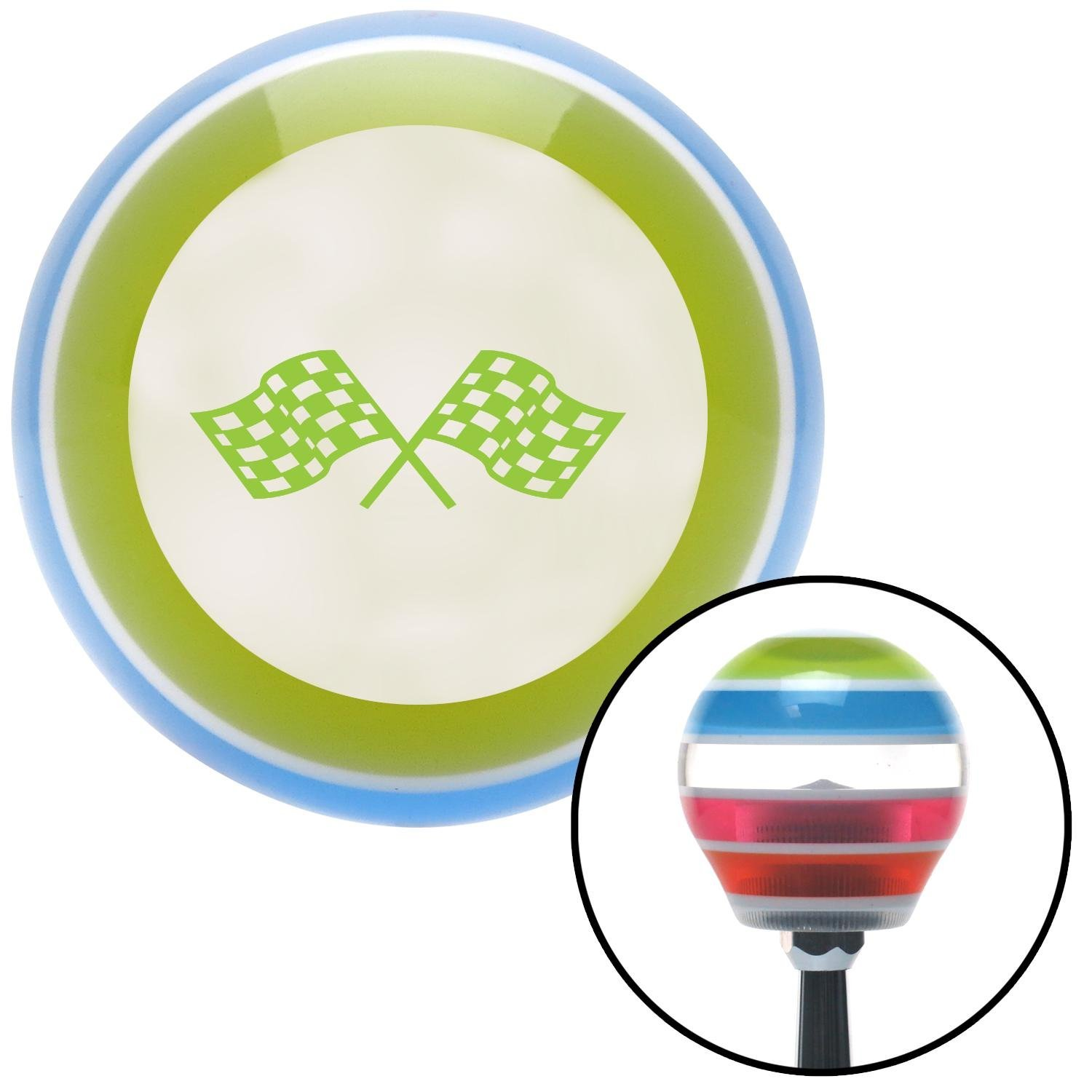 Green Checkered Racing Flags American Shifter 131108 Stripe Shift Knob with M16 x 1.5 Insert