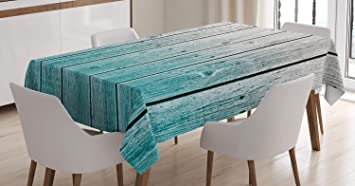 Imagen deABAKUHAUS Rústico Mantele, Paneles de Madera Digital, Resistente al Agua Lavable Colores No Destiñen Personalizado, 140 x 200 cm, Azul pálido Gris
