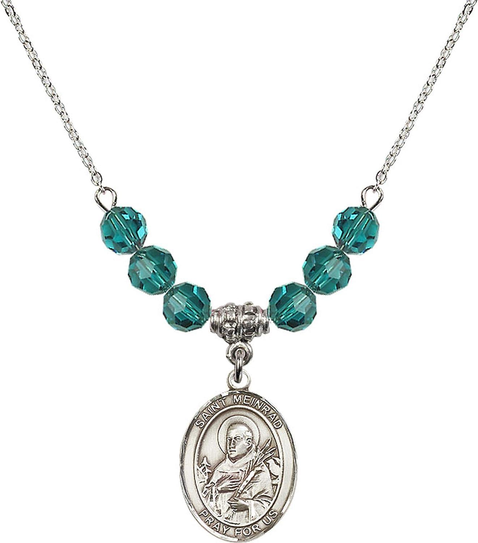 Bonyak Jewelry 18 Inch Rhodium Plated Necklace w// 6mm Blue December Birth Month Stone Beads and Saint Meinrad of Einsiedeln Charm