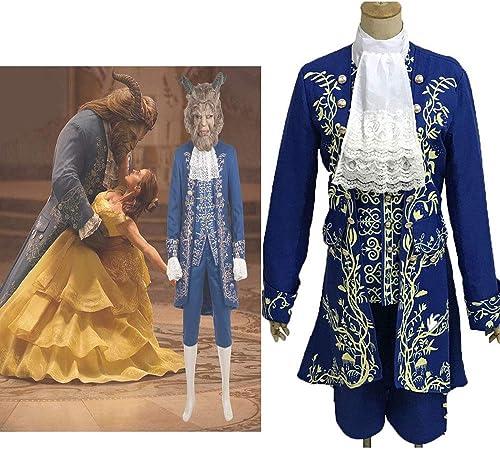 Beauty and the Beast Prince Dan Stevens Blue Uniform Cosplay Costume Male Size
