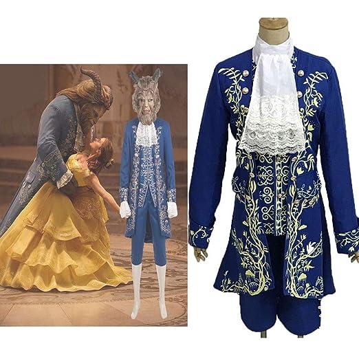 GACOSPLAY La Bella y la Bestia Príncipe Dan Stevens Azul Uniforme ...