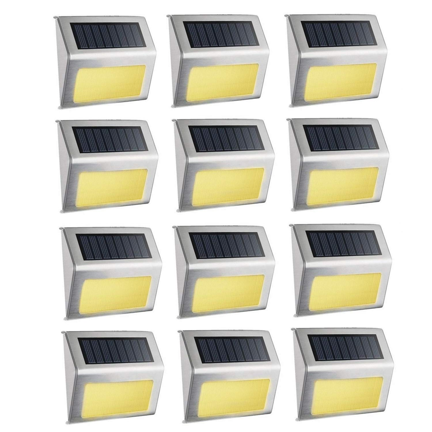Solar Step Lights, Ecoyes Bright LED Walkway Light Stainless Steel Waterproof Outdoor Security Lamps for Patio Stairs Garden Pathway - Warm Light (12 Pack)