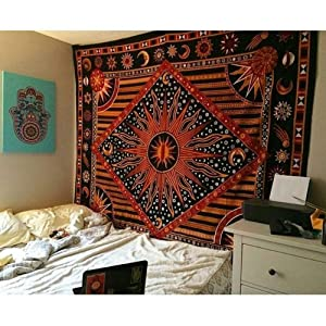 Psychedelic Celestial Sun Moon tapestry Planet Bohemian Tapestry/ Wall Hanging Dorm Decor Boho Tapestry /Hippie Hippy Tapestry Beach Coverlet Curtain (Queen (84 X 85 inches Approx, Orange)