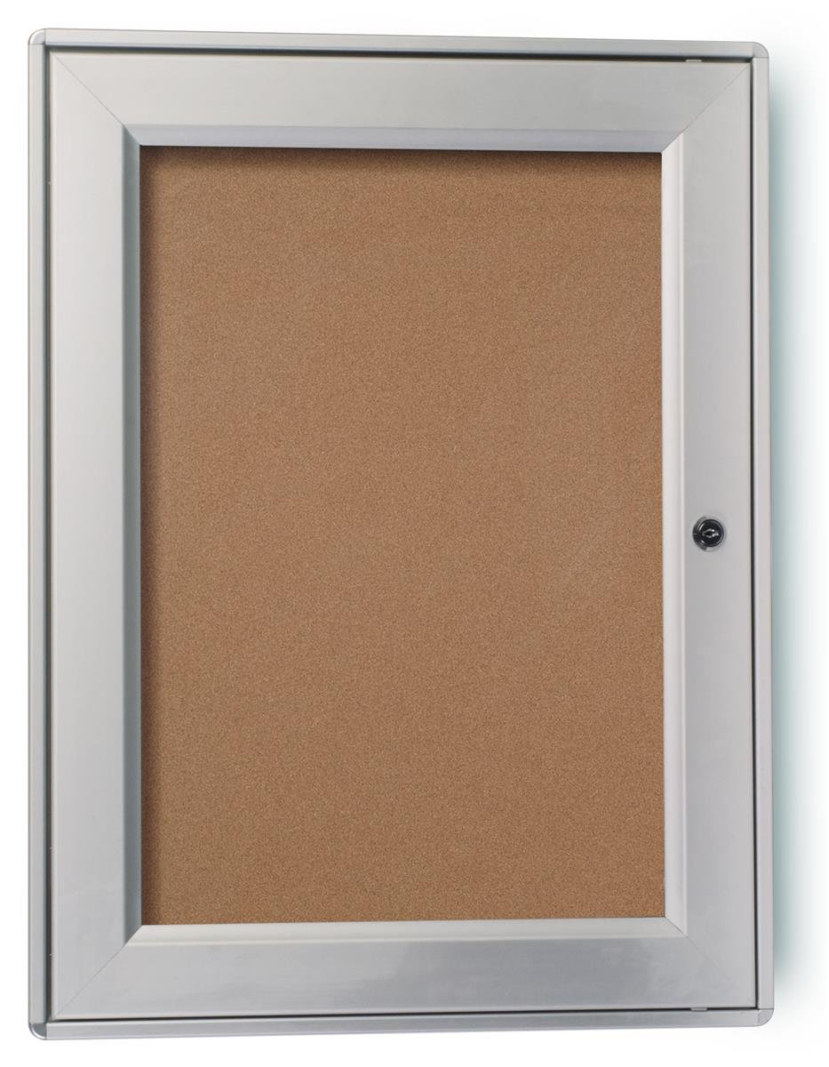 Displays2go Weather Resistant Wall Mountable Bulletin Board With Swing-Open Locking Door, Brushed Silver Aluminum Frame (ODNBCB1319)