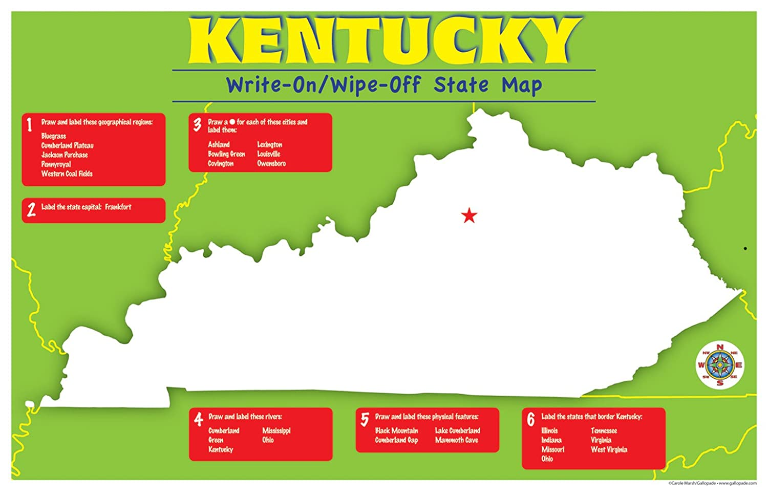 Amazon.com : Gallopade Publishing Group Kentucky Write-On/Wipe-Off on kentucky state outline map, kentucky state flower, kentucky state bird, kentucky state map with cities, kentucky state resource map, kentucky state flag, kentucky state climate, southern physical map, kentucky state product map, louisville physical map, ky state map, kentucky state tree, cincinnati physical map, kentucky state county map, kentucky state outline to print, kentucky state seal, kentucky state road map, memphis physical map, kentucky state black and white, united states and canada physical map,