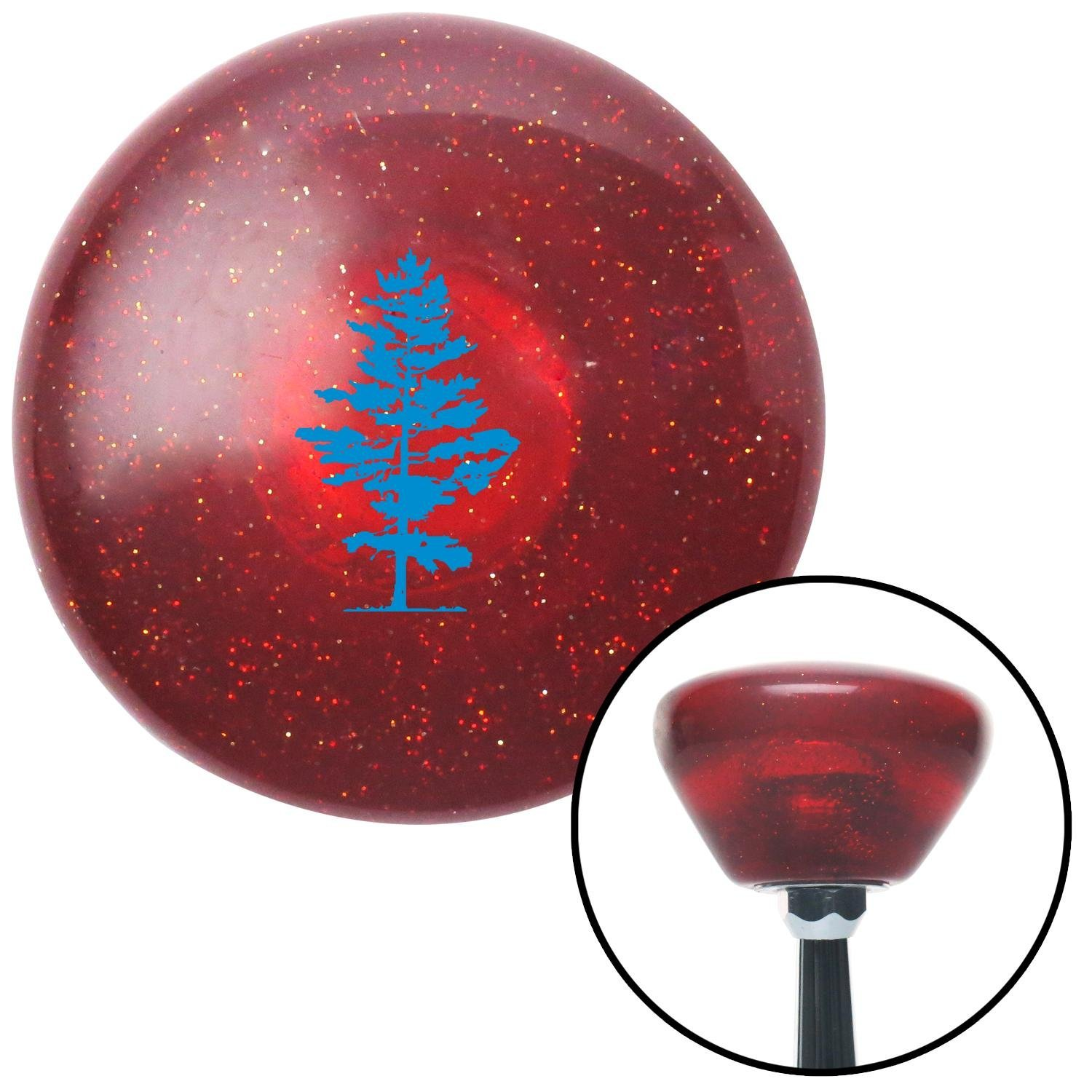 American Shifter 195506 Red Retro Metal Flake Shift Knob with M16 x 1.5 Insert Blue Evergreen Tree