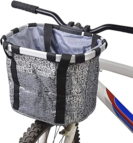 ZCZY Cesta para Bicicleta,Canasta de Bicicleta Plegable,Desmontable Cesta de Manillar de Bicicleta,Impermeable Cesta Delantera de Bicicleta para Porta Mascotas, Camping al aire libre, Picnic (gris): Amazon.es: Deportes y aire libre