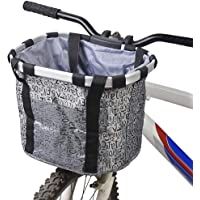 GXZOCK Fietsmand voor, opvouwbaar, waterdicht, gemakkelijk te installeren, afneembare stuurmand, tas voor kleine hond…