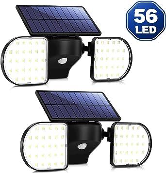 Luz Solar Exterior Foco Solar con Sensor de Movimiento Impermeable IP65 360 ° Ajustable para Garaje Patio y Jardín OUSFOT(2 Pack): Amazon.es: Iluminación