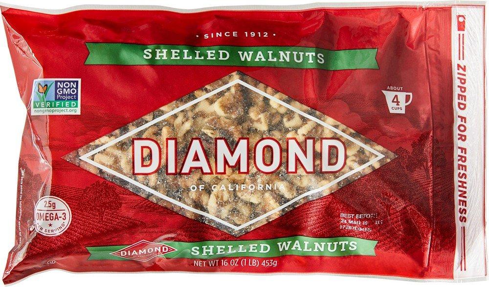 Diamond Shelled Walnuts, 16-oz. Bags (Pack of 6) by Diamond of California