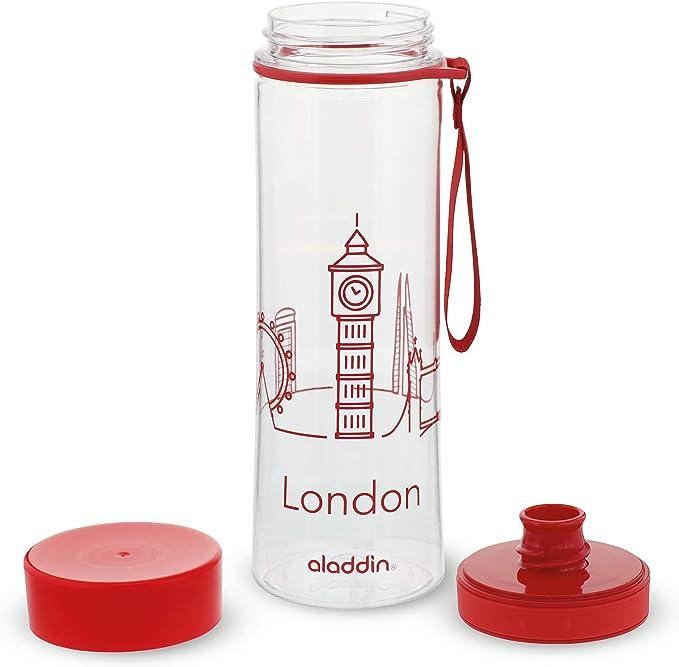 Aladdin Aveo Trinkflasche City Series, London, 0.6 Liter Water Bottle, Unisex, Rojo con gráficos, 600 ml