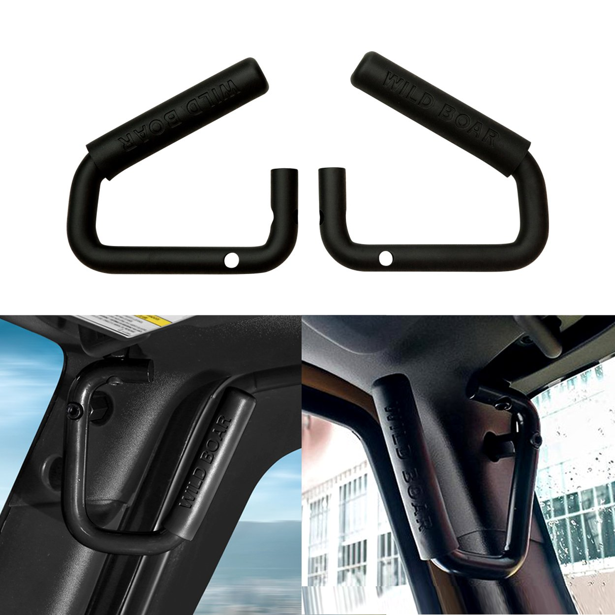 ICARS Black Solid Steel Grab Bar Front Grab Handle for 2007-2018 Jeep JK JKU Wrangler Unlimited Accessories 2 /& 4 Door 1 Pair