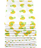 12 Pack MuslinZ White with Print Premium High Quality Baby Muslin Squares/Wraps/Muslin Cloths 100% Cotton
