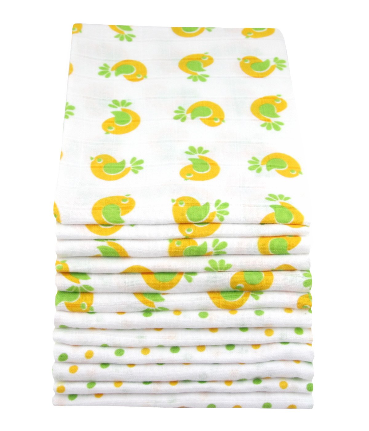 12 Pack MuslinZ White with Print Premium High Quality Baby Muslin Squares/Wraps/Muslin Cloths 100% Cotton MUZ12-YTS