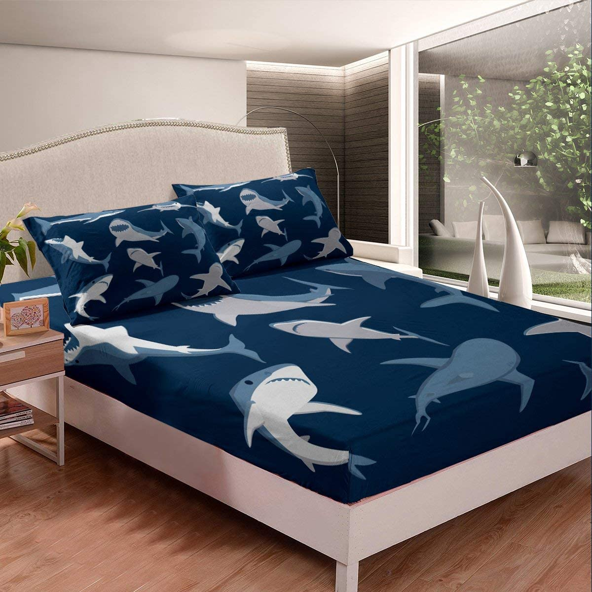 Erosebridal Boy Bedding Set, Cartoon Shark Fitted Sheet, Underwater World Oasis Ocean Top Sheet, Sea Animals Bed Cover, Navy Blue Dorm Decorative 2Pcs Twin Size, with Deep Pocket