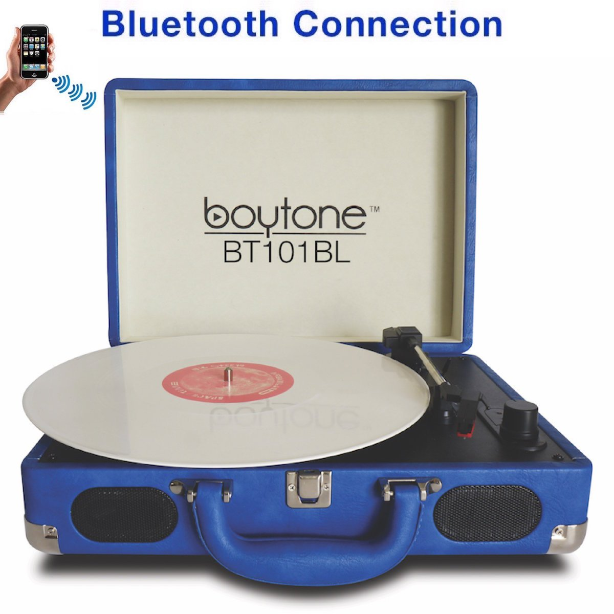 Boytone BT-101BL Bluetooth Turntable Briefcase Record player AC-DC, Built in Rechargeable Battery, 2 Stereo Speakers 3-speed, LCD Display, FM Radio, USB/SD,RCA, AUX / MP3, Encoding, 110/220 Volt.
