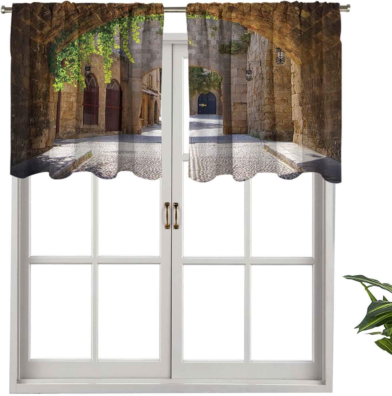 """Hiiiman Window Curtain Light Filtering Rod Pocket Valance Italian Street in Small Provincial Town of Tuscan Italy Europe, Set of 1, 54""""x18"""" for Bedroom, Kitchen Or Bathroom Windows"""
