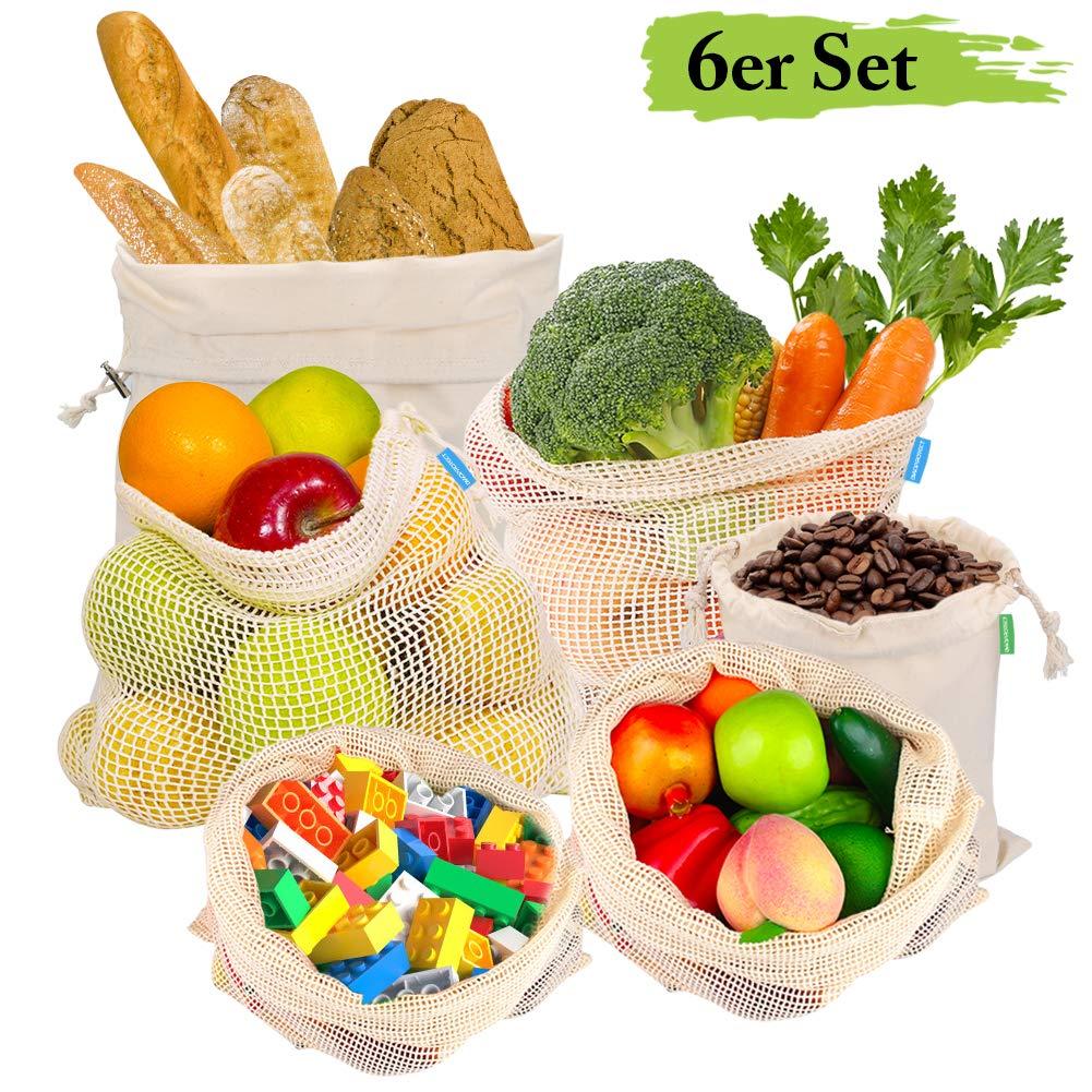 Bio-Baumwolle Zero Waste Gem/üsenetz und Brotbeutel 6er Set Plastikfrei Einkaufsbeutel mit Gewichtsangabe DIAOPROTECT Obst und Gem/üsebeutel Wiederverwendbare Obst- und Gem/üsebeutel