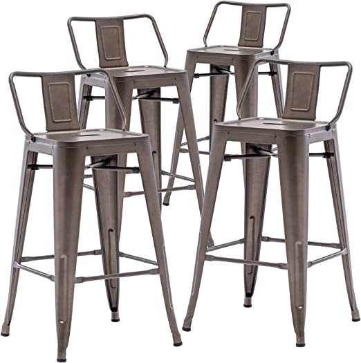 Amazon Com Tongli Metal Counter Stools Kitchen Counter Height Bar Stools Set Of 4 Metal Bar Stool 26 Inches Dining Chairs Rusty Low Back Kitchen Dining