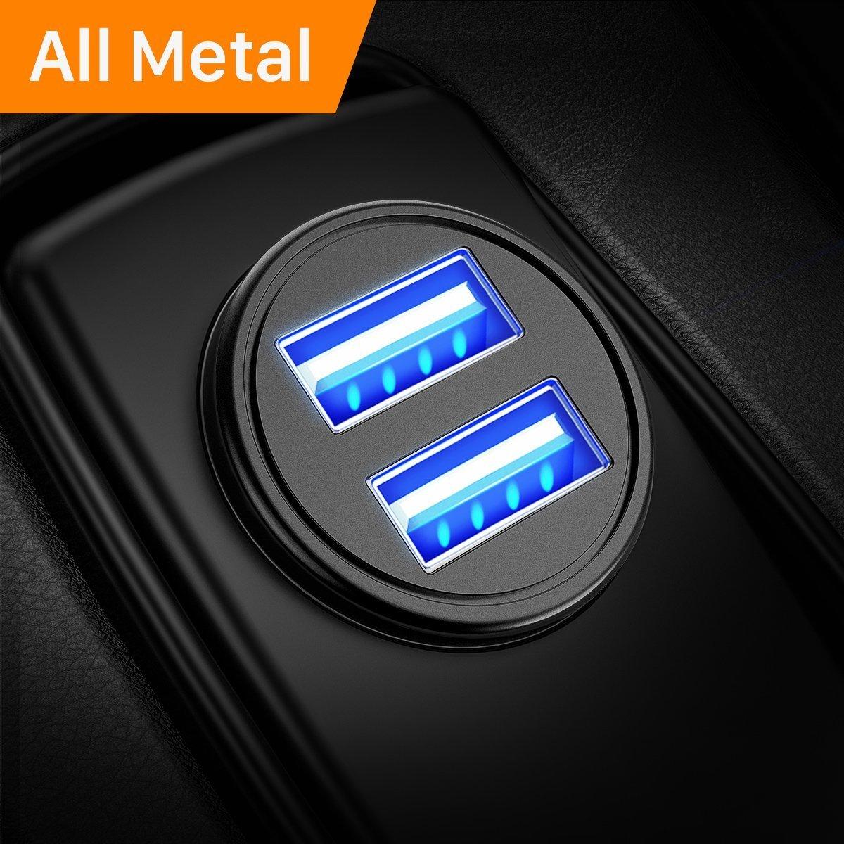 Caricabatteria auto USB, 4.8A Caricatore adattatore universale Caricabatterie da auto 2 Porte Super Mini Alluminio macchina per Phone X / 8/7 / 6s / Plus, Galaxy S8/S7/ Edge, Huawei P9/P10 (Argento) DIVI