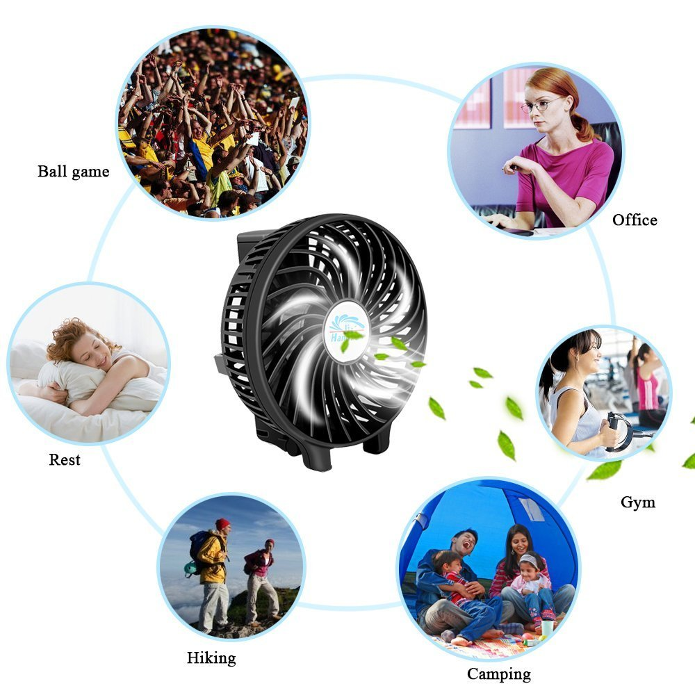 Mini Fan Battery Operated, Kingcenton Handheld Portable Foldable 4 Inch Fan with Clip for Stroller - 2000mAh Rechargeable Battery, 3 Speeds Adjustable for Home, Office and Travel (Black) by Kingcenton (Image #8)