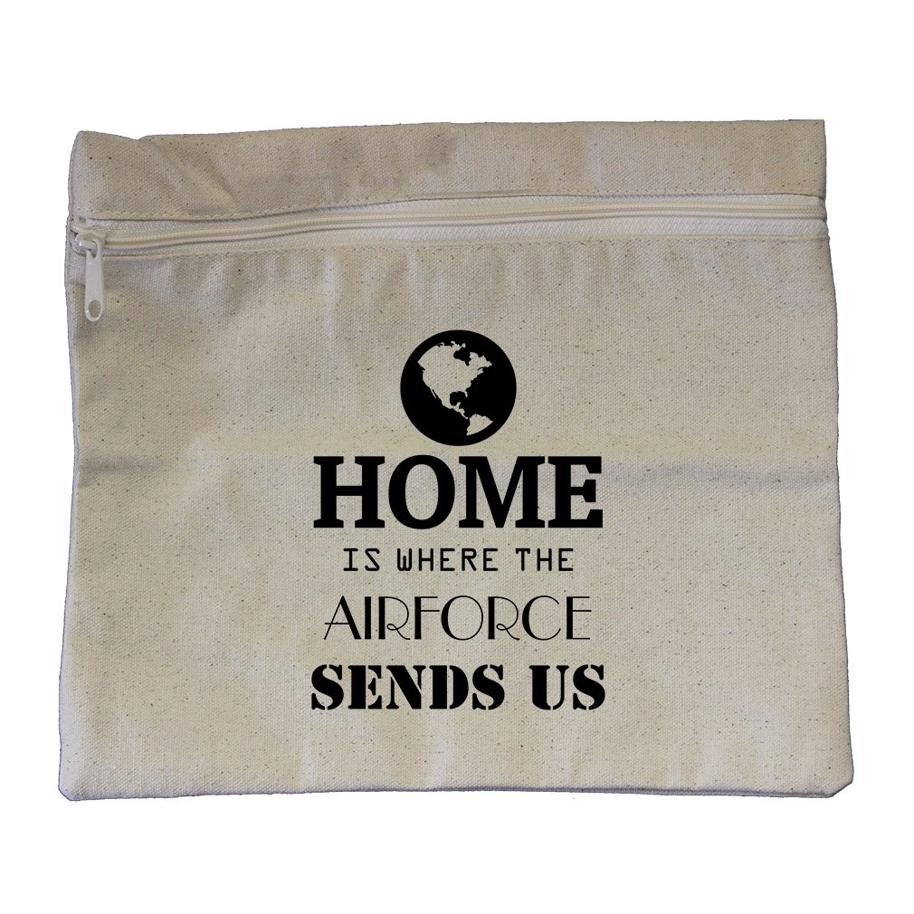 Home Is Where The Airforce Sends Us #2 Canvas Zippered Pouch Makeup Bag