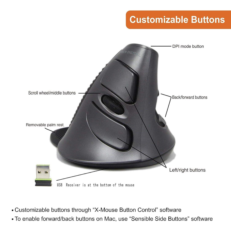 J-Tech Digital ® Scroll Endurance Wireless Mouse Ergonomic Vertical USB  Mouse with Adjustable Sensitivity (600/1000/1600 DPI), Removable Palm Rest  &